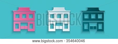 Paper Cut Wild West Saloon Icon Isolated On Blue Background. Old West Building. Paper Art Style. Vec