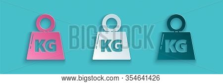 Paper Cut Weight Icon Isolated On Blue Background. Kilogram Weight Block For Weight Lifting And Scal