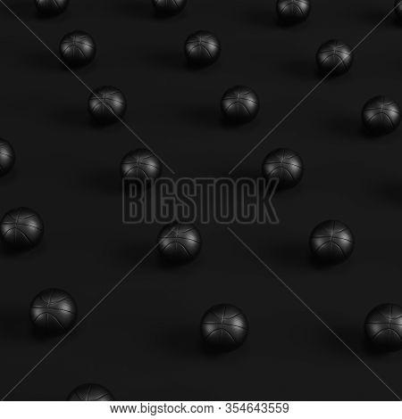 Array Of Black Basketball Balls On Dark Background. Minimalism Concept. 3d Render