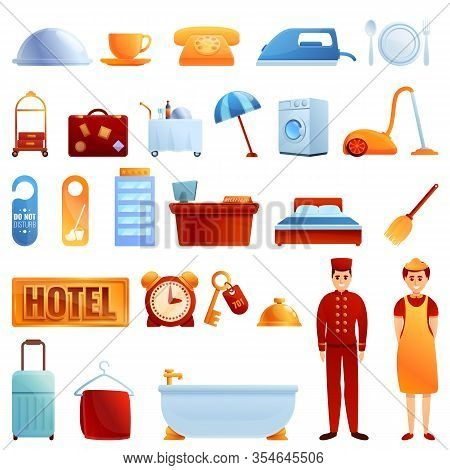 Room Service Icons Set. Cartoon Set Of Room Service Vector Icons For Web Design
