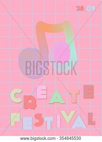 Music Cover In Blue, Violet, Pink, Orange Colors. Rock Concert Flyer. Minimal Line Brochure. Amplitu