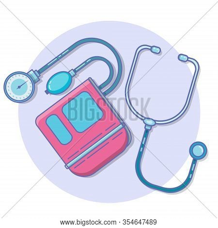 Blood Pressure. Icon Tonometer Isolated On Background. Measuring Arterial Blood Pressure Medical. Ve