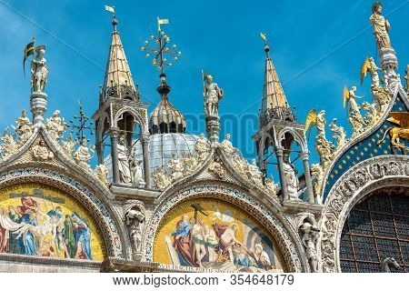 St Mark's Basilica In Venice, Italy. Famous Saint Mark's Cathedral Is Top Tourist Attraction Of Veni