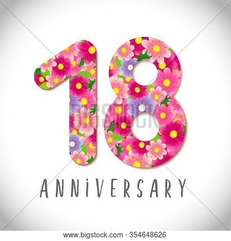 18 Th Anniversary Numbers. 18 Years Old Logotype. Flowery Pink Congrats. Isolated Abstract Graphic D
