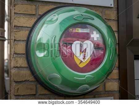 Randers, Denmark - 09 Feb. 2020: Automated External Defibrillator Aed Philips On The Street In The C