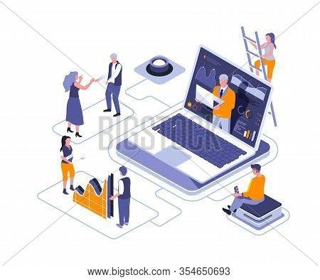 Virtual Business Assistant Isometric Landing Page Vector Template. Professional Consulting Website H