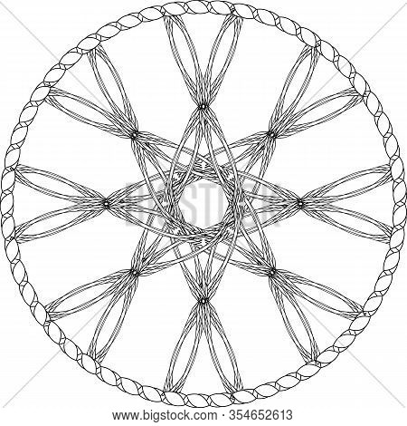 Contour Abstract Entwined Wheel With Octagonal Star In Knotted Circle In Pagan Style