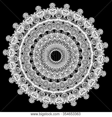 Vintage Floral Round Lace Mandala Pattern. Greek Ornamental Background. Line Art Tracery Black And W