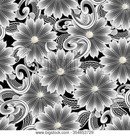 Vintage Floral 3d Vector Seamless Pattern. Greek Ornamental Jewelry Background. Line Art Tracery Bla