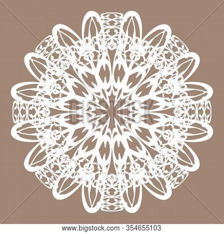 Ornate White Lace Madnala Or Vintage Doily On Beige Background