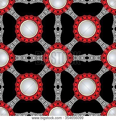 Greek Vector Seamless Pattern. White 3d Round Buttons. Ornamental Abstract Background. Decorative Re