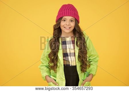When Learning Is Fashionable. Happy Girl With Fashionable Autumn Look. Stylish Schoolchild Smile On