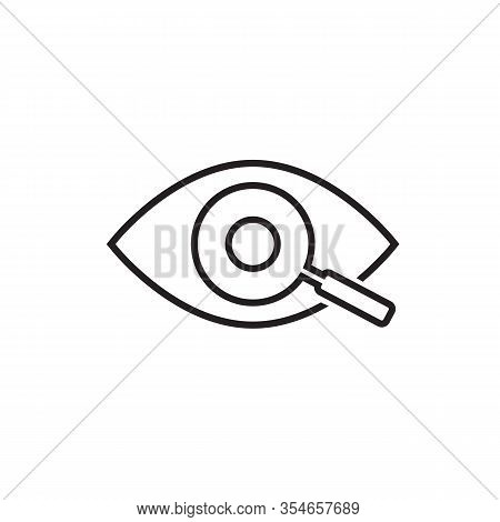 Magnifier With Eye Outline Line Icon. Find Icon, Investigate Concept Symbol. Eye With Magnifying Gla
