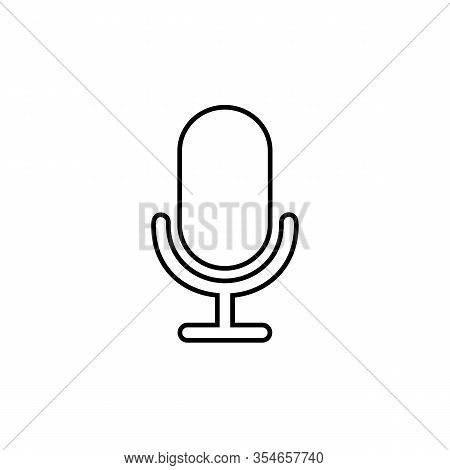 Mic Line Icon Vector. Mic Vector Graphic Illustration In Modern Flat Style