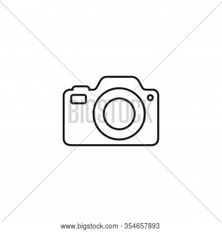 Photo Camera Line Icon Vector Photography Flat Sign Symbols Logo Illustration Isolated White Backgro