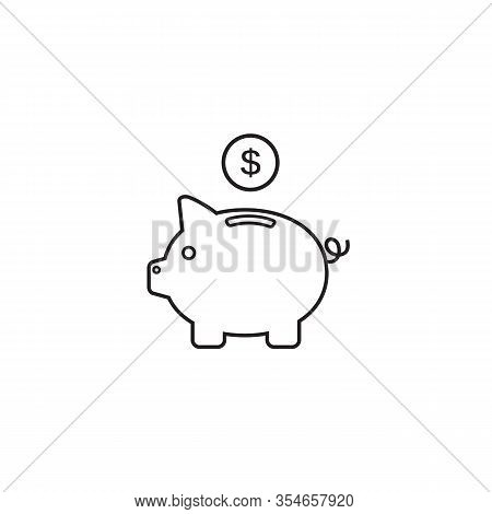 Piggy Bank Line Icon Vector With Dollar Coin And Moneybox Flat Sign Symbols Logo Illustration Isolat