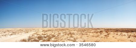 Panoramic image of middle eastern desert in the North-west of Qatar near Fort Al Zubarah poster