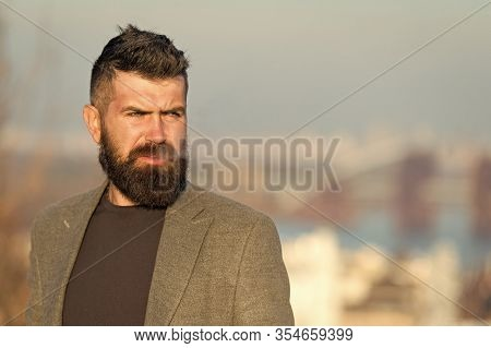 Smoking Aesthetics. Smoking Devices Concept. Bearded Hipster Smoking Outdoors. Device Hide Conceal S