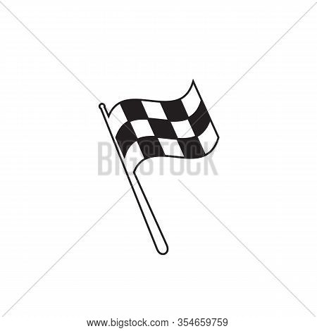 Checkered Racing Flag Line Icon. Starting Flag Auto And Moto Racing. Sport Car Competition Victory S