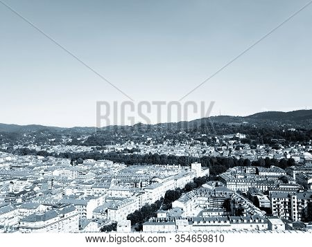 Turin, Italy -03/04/2020: Beautiful Caption Of The City Of Turin In Winter Days From The City Center