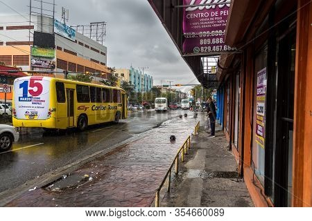 March 7, 2020, Santo Domingo Dominican Republic. Dramatic Image Of A Stormy Downtown Street In The C