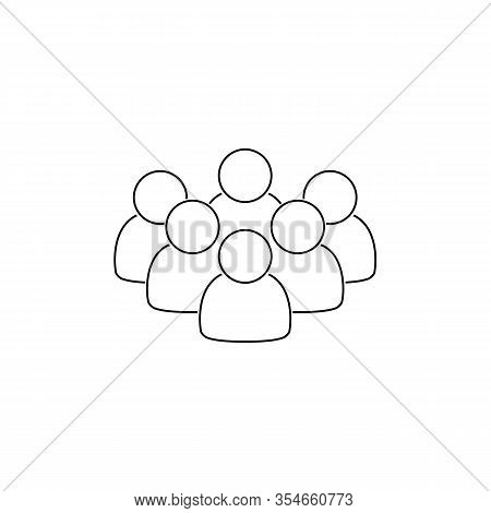 Line Icon Of People In Black Color On White Background Isolated. Group Of People Ideal For Business,