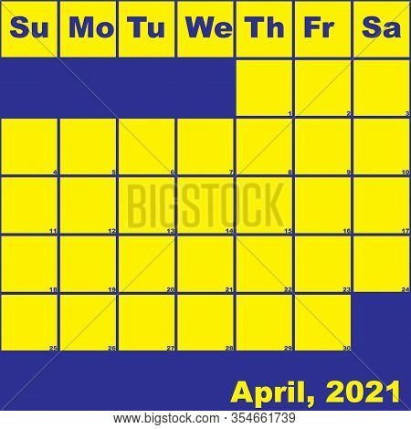 2021 April Yellow On Blue Planner Calendar With Huge Space For Notes