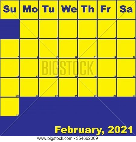 2021 February Yellow On Blue Planner Calendar With Huge Space For Notes