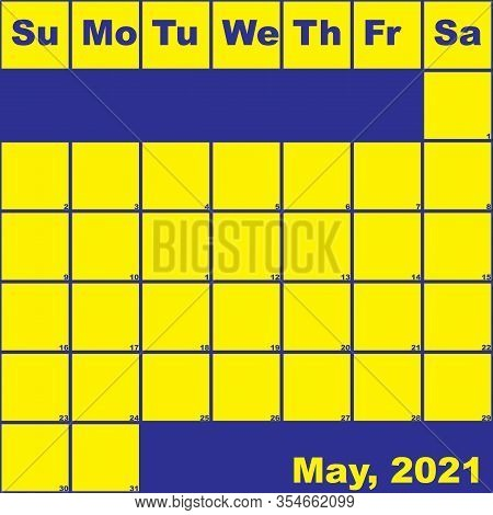 2021 May Yellow On Blue Planner Calendar With Huge Space For Notes