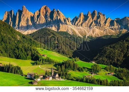Majestic View From The Hill With Summer Green Fields And High Mountains. Stunning Place With Traditi