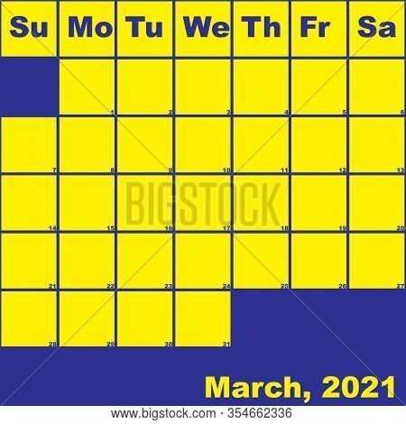 2021 March Yellow On Blue Planner Calendar With Huge Space For Notes