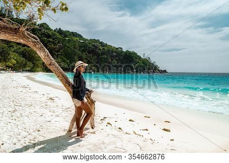 Seychelles Tropical Island, Young Woman On The White Beach During Holiday Vacation Mahe Seychelles,