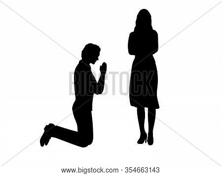 Silhouettes Of Man Beg On His Knees In Front Of Woman. Illustration Graphics Icon
