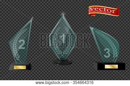 Realistic Glass Trophy Awards. Trophy And Award Prize, Sport Cup Transparent Realistic. Trophy And A