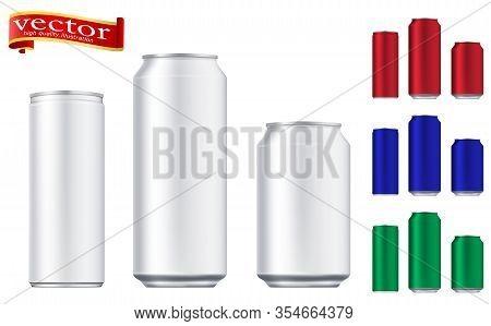 Vector Aluminium Beer And Slim Soda Can Mock Up Blank Template. Juice, Soda, Beer Jar Blank. Aluminu