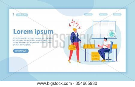 Lady Boss Instructions Landing Page Flat Template. Project Executive And Office Manager Faceless Cha