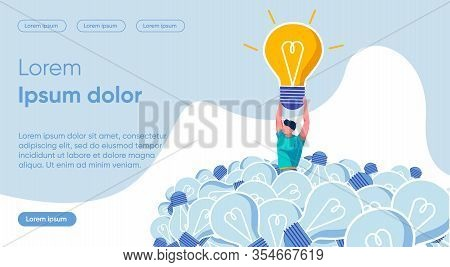 Bright Banner Solving Specific Problem, Slide. Strong Guy Found Among Dim Lights One Luminous Bulb.