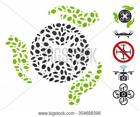 Dotted Mosaic Based On Air Copter Care Hands. Mosaic Vector Air Copter Care Hands Is Composed With R