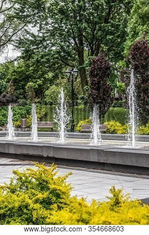 Spring City Park With Fountains And Green Trees. Montreal (quebec, Canada).
