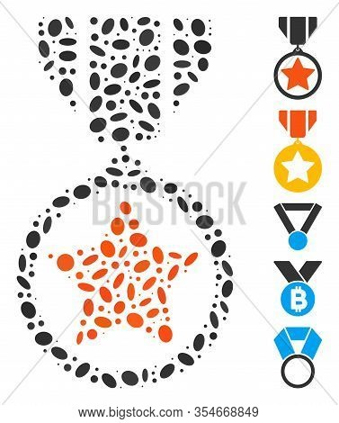 Dot Mosaic Based On Army Medal. Mosaic Vector Army Medal Is Formed With Random Ellipse Items. Bonus