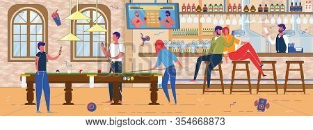 Alcoholic Bar Or Pub With Billiards Pool Interior Background. People Characters Playing Game, Commun