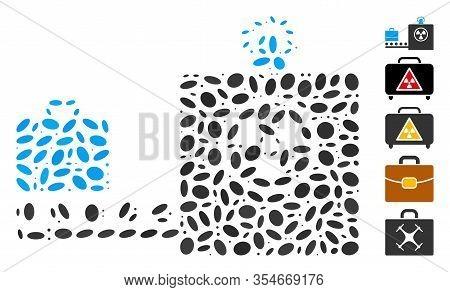 Dot Mosaic Based On Baggage Screening. Mosaic Vector Baggage Screening Is Formed With Random Ellipti