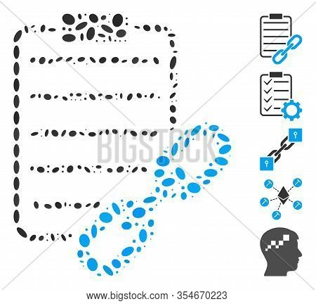 Dot Mosaic Based On Blockchain Contract. Mosaic Vector Blockchain Contract Is Formed With Randomized
