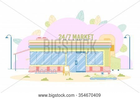 Round-the-clock Market Shop Building Location. Day And Night, Twenty Four Hour Working Marketplace.