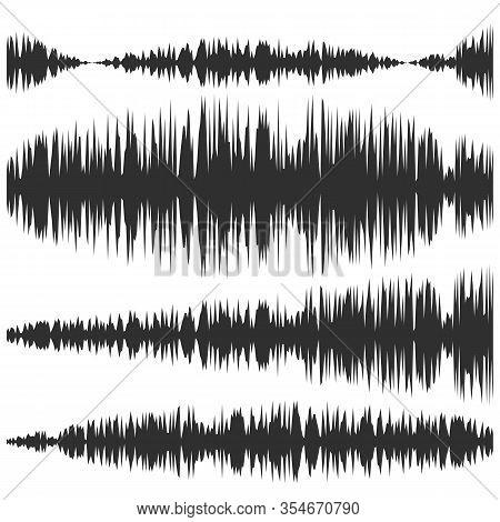 Sound Waves Set. Screen Of Equalizer. Musical Vibration Graph. Radio Wave Amplitude.
