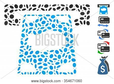 Dotted Mosaic Based On Cashpoint. Mosaic Vector Cashpoint Is Designed With Scattered Ellipse Dots. B