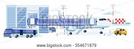 Airport Building With Landed Airplane And Other Special Vehicle For Passengers Relocation On Airfiel