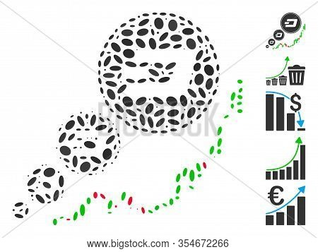 Dot Mosaic Based On Dashcoin Inflation Chart. Mosaic Vector Dashcoin Inflation Chart Is Composed Wit