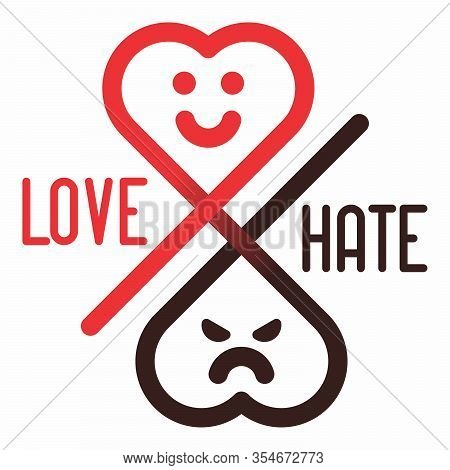 Love And Hate (duality) Minimal Vector Illustration. Creative Opposite Concept Design Idea Template