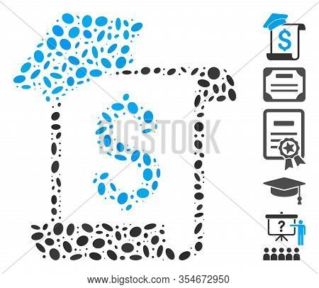 Dotted Mosaic Based On Education Invoice. Mosaic Vector Education Invoice Is Formed With Randomized